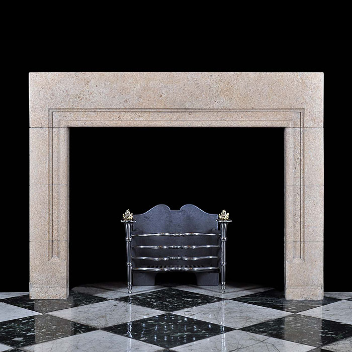 Antique Derbyshire Fossil Stone Art Deco Bolection English Chimneypiece   A large Fossil Stone Fireplace with Bolection mouldings. English late 19th century.