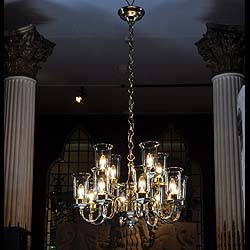 A  12 branch brass chandelier