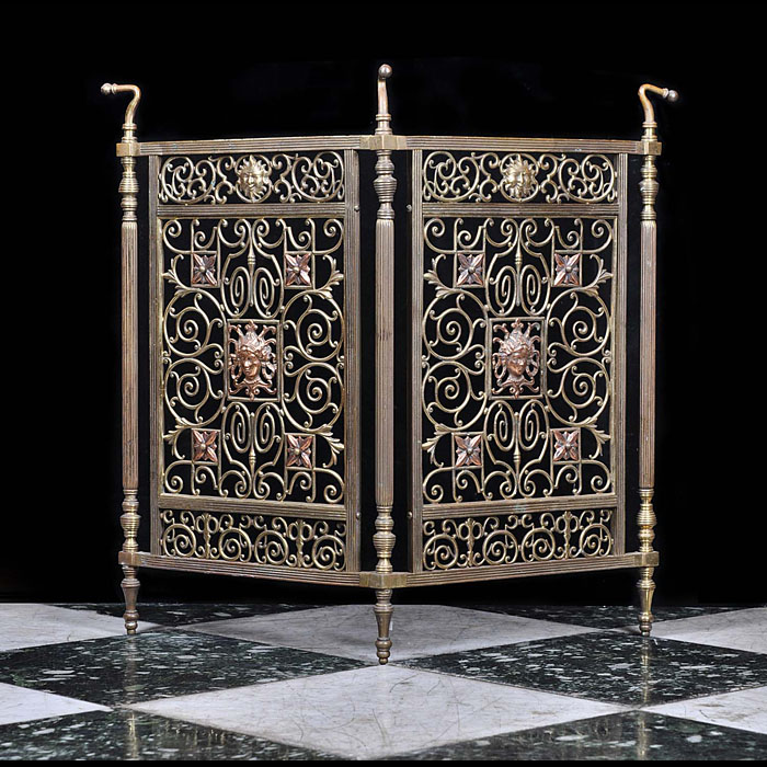 Rococo style antique brass fire screen