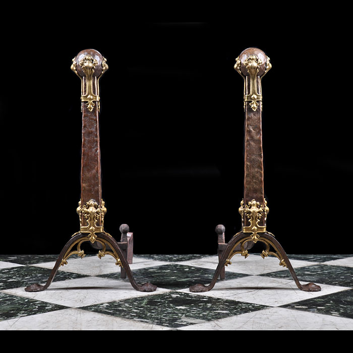 Rare Gothic Revival Bronze Antique Andirons