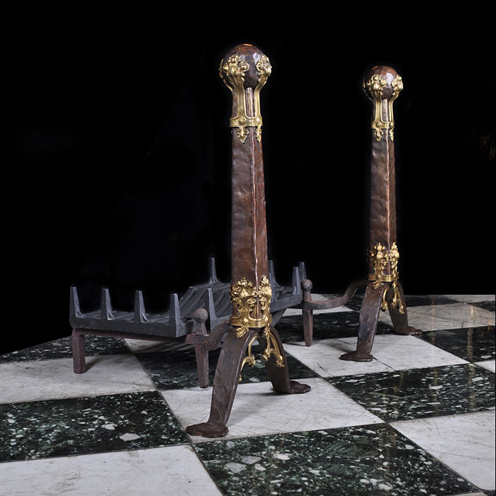 A Pair of Rare Neo Gothic style Antique bronze and brass mounted andirons