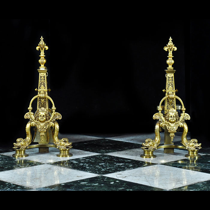 Antique pair of gilt bronze Baroque style chenets