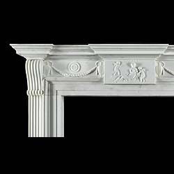 Antique Late English Georgian Manner White Marble Chimneypiece