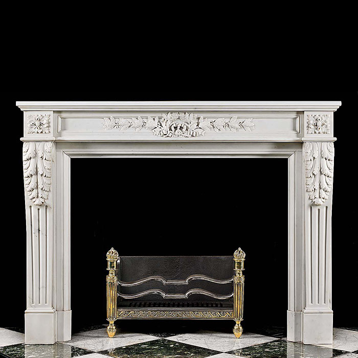 Antique Louis XVI French carved Marble Chimneypiece