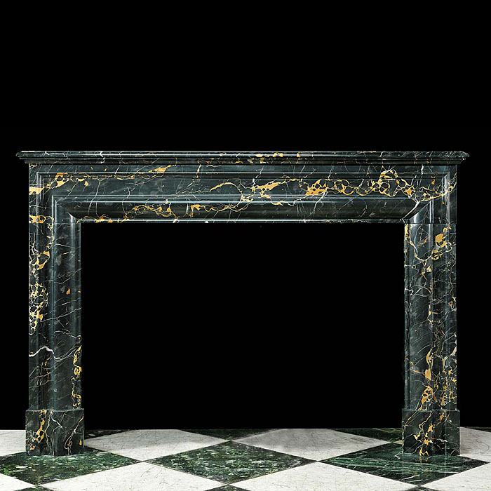 Antique Bolection Gold veined Black Portoro Marble Chimneypiece