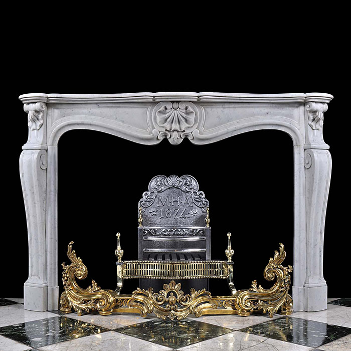 Carrara Marble Louis XV Style Fireplace