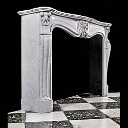 An Antique Carrara Marble Louis XV style Fireplace Surround