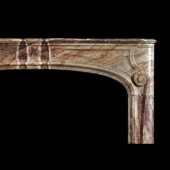 Antique Sarin Colin Red veined marble Louis XVI Chimneypiece