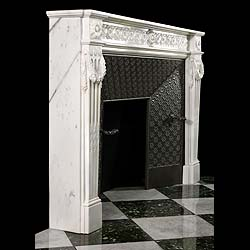 A fine Louis XVI style statuary marble fireplace surround in the French manner
