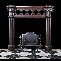 A carved oak mid 19th century Neo Gothic Chimneypiece