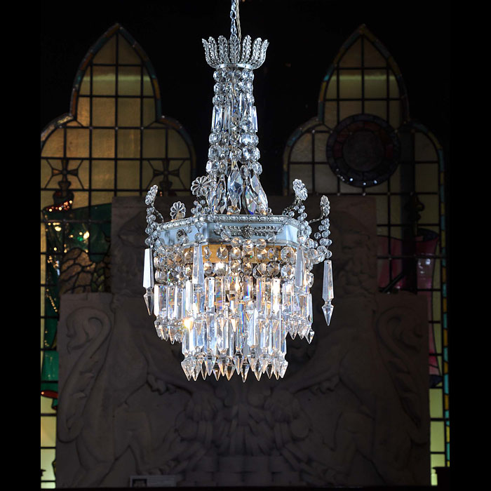 Small chandelier silver gilt and crystal glass