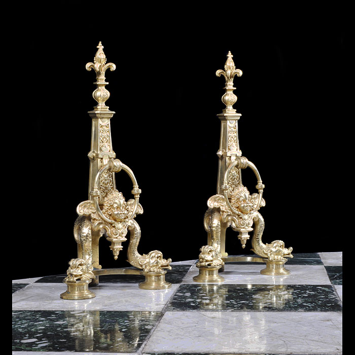 A Pair of Baroque Style Gilt Bronze Andirons