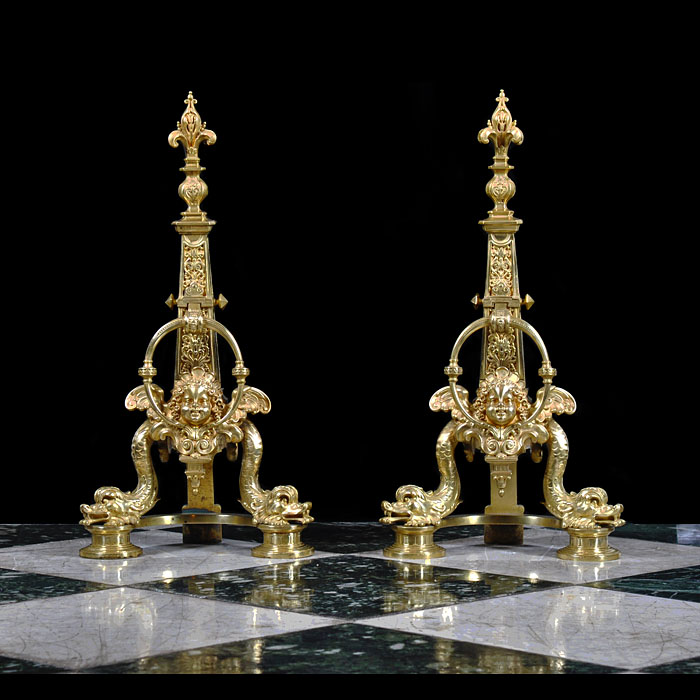 Pair antique gilt brass andirons Baroque renaissance manner