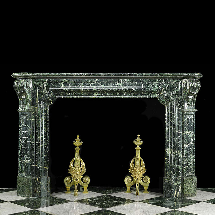 Antique Green Marble Bolection Louis XIV French Chimneypiece