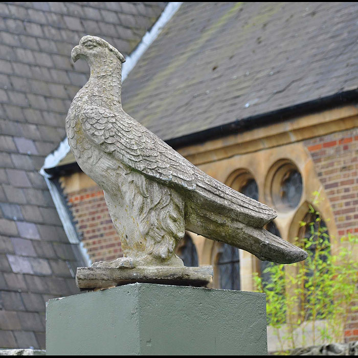 12539: A large reconstituted stone entrance gatepost eagle finials, on rectangular plinths. Attractively patinated and verdigreed with well defined carved detail. English , early 20th century.  Link to: Anti