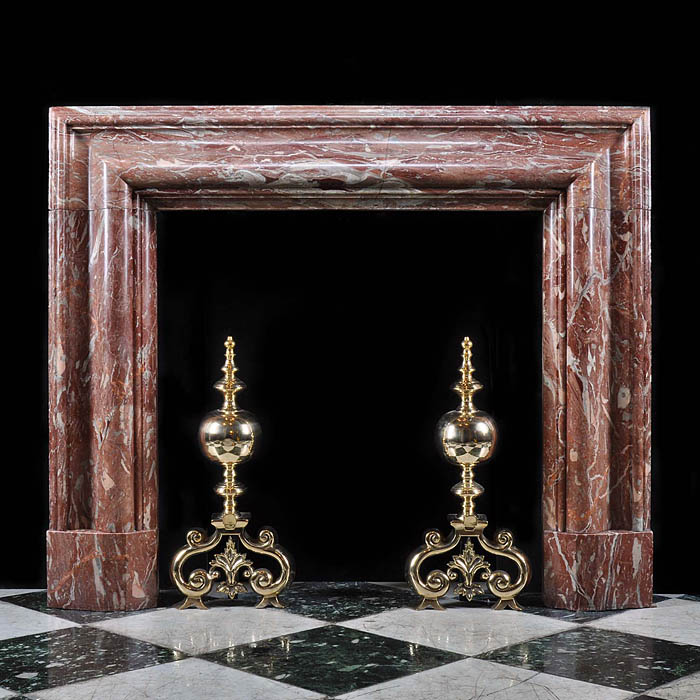 Antique Red Languedoc English Bolection Marble Chimneypiece   A large and substantial Languedoc Red veined Marble Bolection English Fireplace, 1930s.