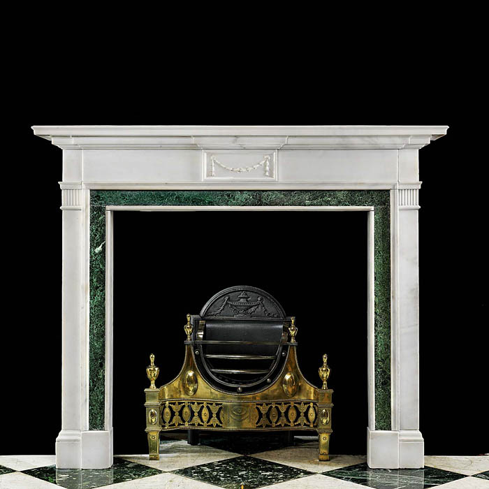 Antique White English Marble Neo Classical Chimneypiece with Marble Slips