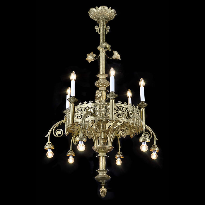 A twelve light Gothic Revival Victorian chandelier