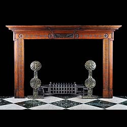 12555: ' SPLENDEO TRITUS '.  A late Neoclassical carved walnut Chimneypiece in the manner of George III, very much inspired by Robert Adam. The centre tablet adorned with olive branches and the Latin motto w
