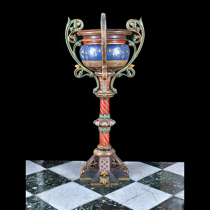 A Gothic Revival Painted Wood Jardiniere