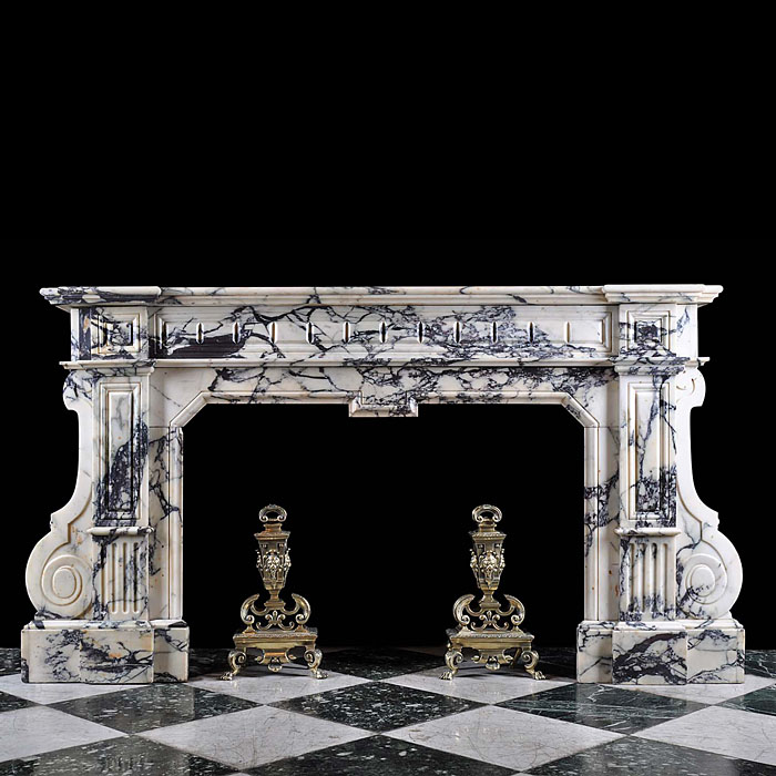 A large Baroque Chimneypiece in Blue veined Pavonazzo Marble