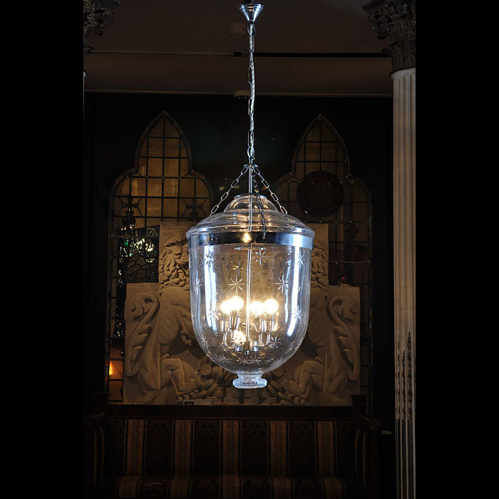 Regency style large etched ceiling light