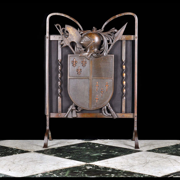 A bronze, wrought and cast iron Armorial FireGuard