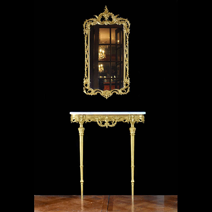 Gilt brass Louis XVI console table and mirror