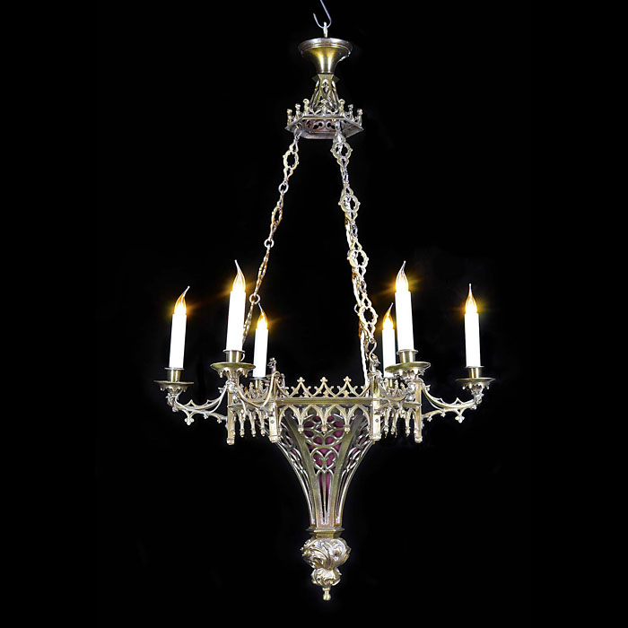 Hexagonal Gothic Revival brass antique chandelier