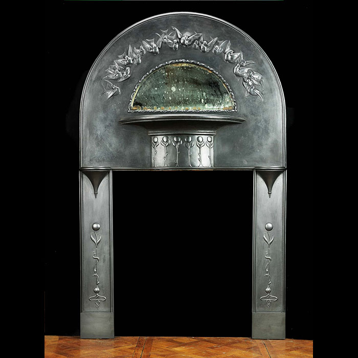 An Art Nouveau cast iron Antique Fireplace Mantel