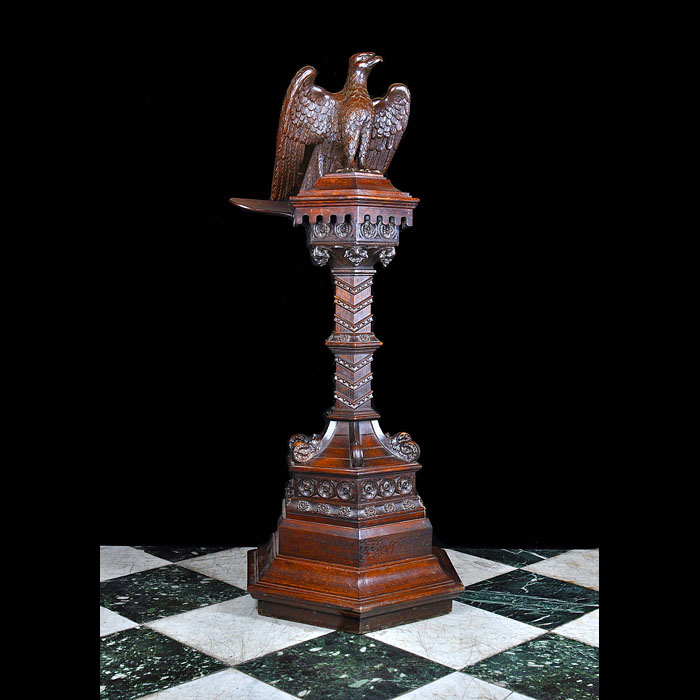 Carved oak Arts and Crafts eagle lectern