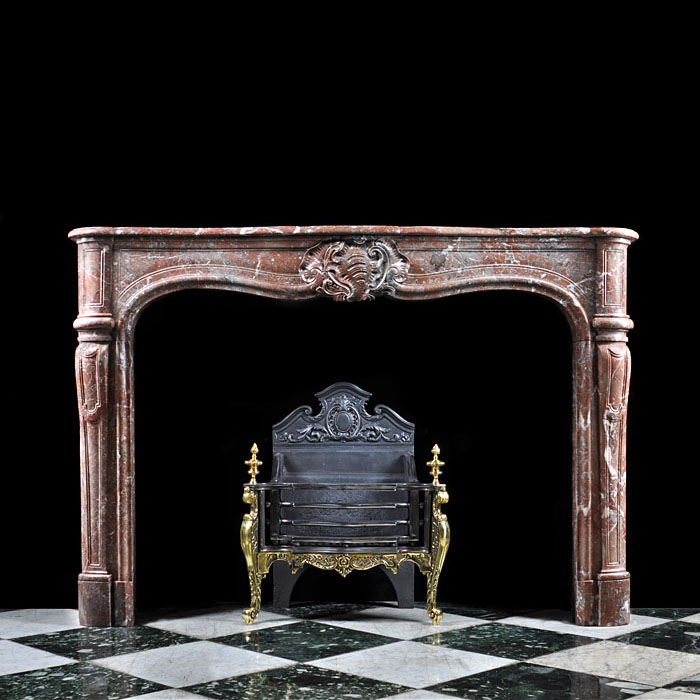 A Louis XV Rococo style 19th century marble Chimneypiece