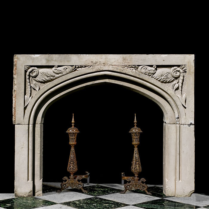 Tudor Gothic dragon carved stone fireplace mantel