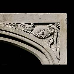 Tudor Revival Gothic dragon carved stone fireplace mantel
