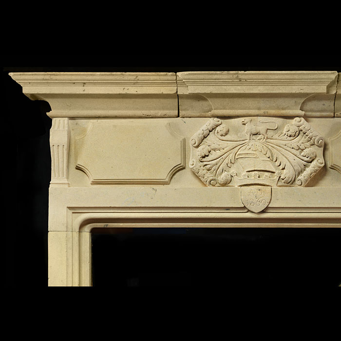An Antique Baroque Revival Heraldic Bath Stone Chimneypiece Mantel