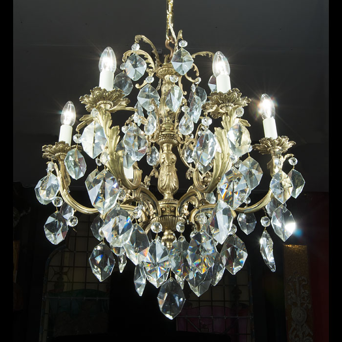 A 20th century cut glass chandelier