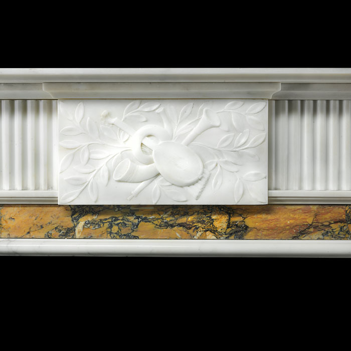 A Statuary and Sienna Marble antique chimneypiece in the Georgian manner