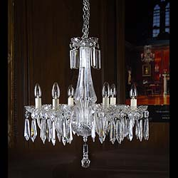 A six branch cut crystal Waterford Chandelier.