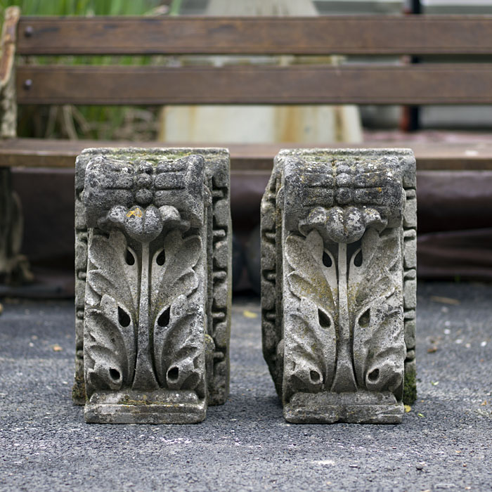 Portland Stone pair of carved corbels