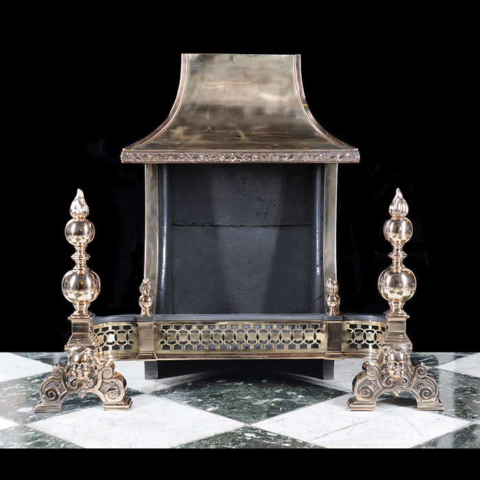 An Antique Baroque style Hooded Victorian Fire Grate