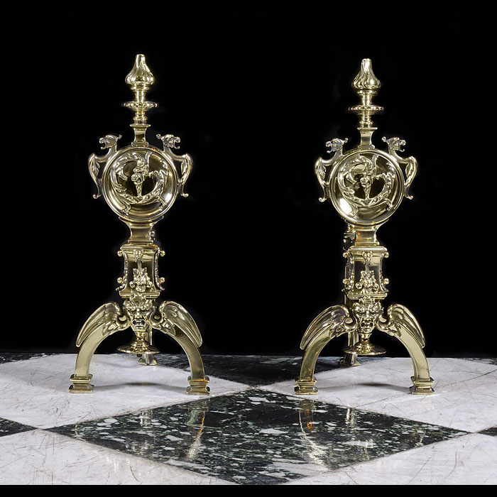 Antique Pair of Brass Baroque manner French Andirons
