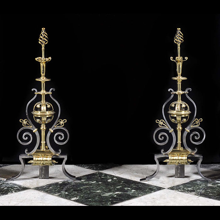 Antique polished steel and brass Andirons