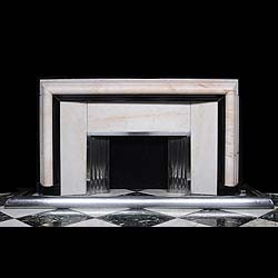 An Art Deco white and Belgian Black marble Fireplace