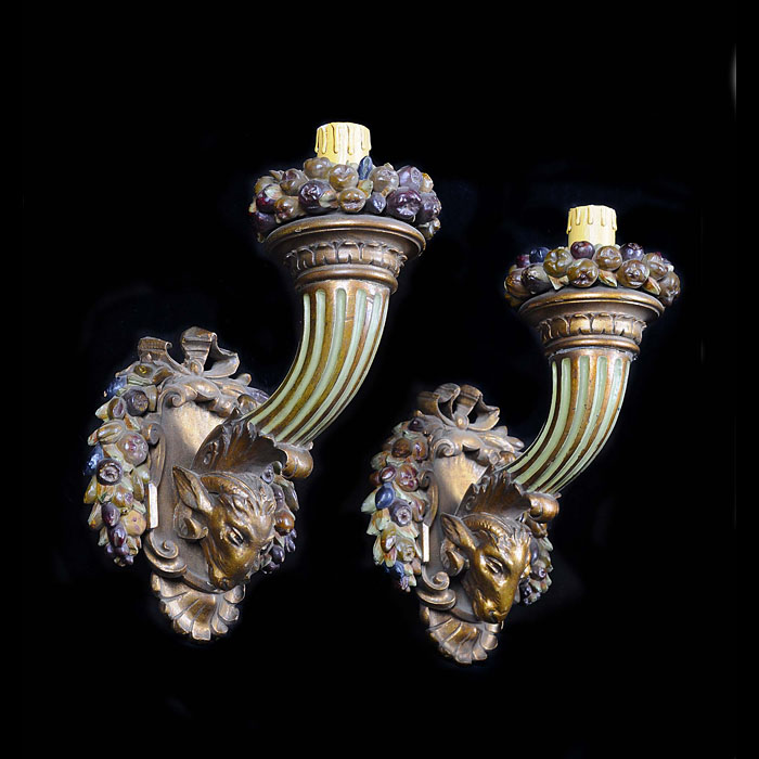 A pair of Antique Baroque style polychrome wood wall sconces