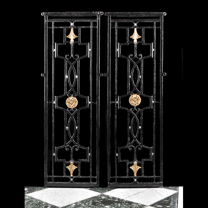 A Pair of Bronze & Wrought Iron Gates