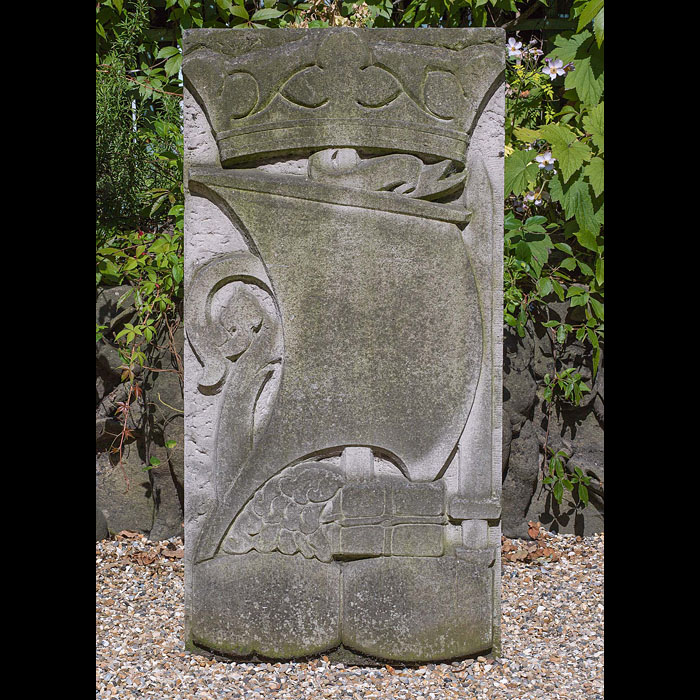 A Portland Stone Viking galleon wall plaque