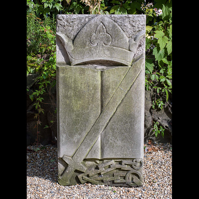 12821: ONE OF A SET OF THREE LOW RELIEF CARVED PORTLAND STONE PLAQUES, each with a Viking theme.