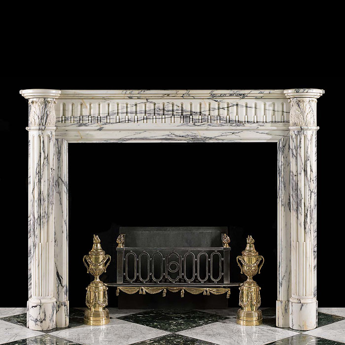 A Louis XVI Arabascato Marble Fireplace