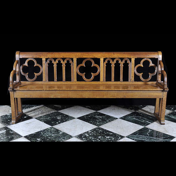 Pugin style antique oak church bench