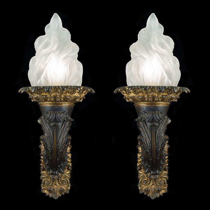 A pair of gilt bronze Beaux Arts style wall lights